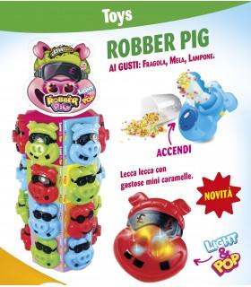 LECCA LECCA CANDY ROBBER PIG CON LUCE 22g EXPO DA 24 PZ. COLORI ASSORTITI
