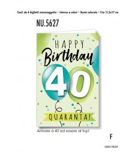 Biglietto Cromo Compleanno 40 anni conf. 6 pz. monosoggetto