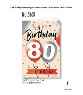 Biglietto Cromo Buon Compleanno 80 Anni conf. 6 pz.  monosoggetto