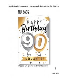 Biglietto Cromo Compleanno 90 anni conf. 6 pz. monosoggetto