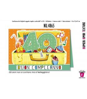 Biglietto Cromo Compleanno 40 Anni conf. 6 pz.