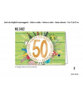 Biglietto Cromo  Compleanno 50 Anni conf. 6 pz. monosoggetto