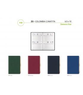 Agenda Bigiornaliera con Matita  mis.6.5x10 Mod. Colombia  Disponibile in 4 colori
