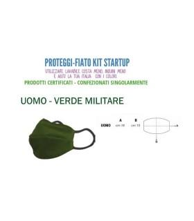 Mascherine Proteggi-Fiato Uomo in Cotone 100% Lavabile idrorepellente e Traspirante conf. 10 pz. colore verde