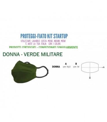 Mascherine Proteggi-Fiato Donna in Cotone 100% Lavabile idrorepellente e Traspirante conf. 10 pz. colore Verde