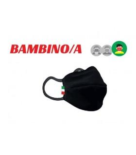 Mascherine Proteggi-Fiato Bimbo/a 6/8 Anni in Cotone 100% Lavabile idrorepellente e Traspirante conf. 10 pz. colori Nero