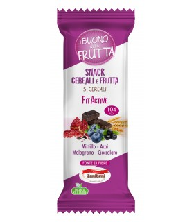 BARRETTA DI CERALI FIT ACTIVE CON MIRTILLO, ACAI, MELOGRANO E  CIOCCOLATO 25g CONF. 24 PZ.