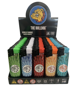Accendino Elettronico Turbo The Bulldog 3D con Rilievo conf. 50 pz. assortito con 5 fantasie