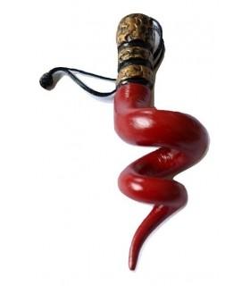 Corno Medio Rosso a Spirale in Ceramica con Tre Corone H.7 cm Realizzato e dipinto a mano