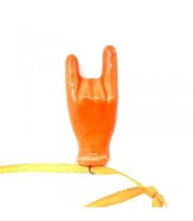 Corna Portafortuna in Ceramica H. 5 Cm colore Arancione realizzate e dipinte a mano