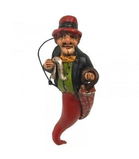 Corno Rosso con Gobbo Napoletano H.14 cm