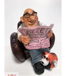 """Caricatura Mestieri """" Il Nonno con Gazzetta"""" H.15 cm"""