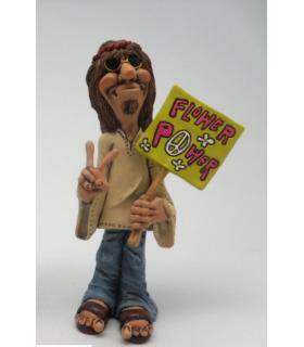 """Caricatura Hippie """"Man Flower Power"""" H.15 cm"""