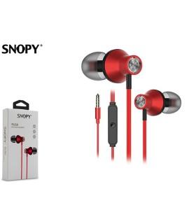 Auricolare Snopy con Microfono per Smartphone e Tablet colore Rosso