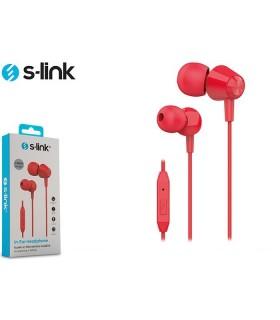 Auricolare S-Link con Microfono per Smartphone e Tablet  colore Rosso