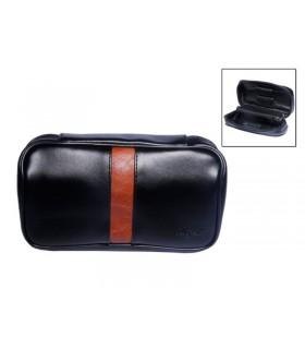 Portatabacco da Pipa in Similpelle con Zip colore nero