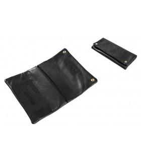 Bustina Portatabacco Morbida in Vera Pelle colore Nero confezionata in scatola
