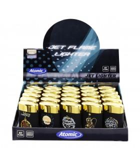 Accendino Atomic X-Mas Turbo Jetflame conf. 25 pz. assortito con 5 fantasie