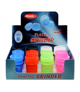 Grinder Atomic in Plastica colorata 4 parti conf. 12 pz. assortito con 6 colori
