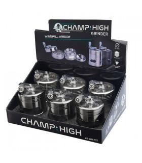 Grinder Champ in Metallo con Macinino 4 Parti Diam.55mm conf. 6 pz. assortito con 2 colori