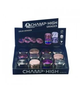 Grinder Champi n Metallo 4 Parti Diam.39mm Expo da 12 pz. assortito con 4 colori