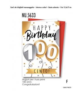 Biglietto Cromo Compleanno 100 Anni conf. 6 pz. Monosoggetto