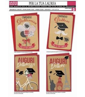 Biglietto Cromo Laurea conf. 12 pz. assortito