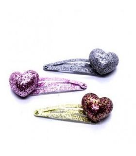 Fermagli Clic Clac Le kikke con Cuore e Glitter L.7 cm Blister 12 pz. colori assortiti come da foto