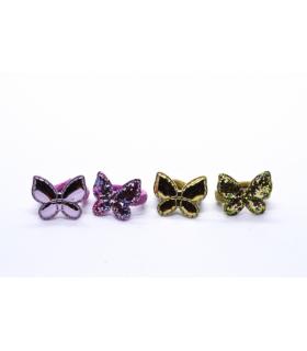 Elastico per Capelli Le Kikke con Farfalla Metalizzata e Glitter conf. 12pz. assortiti come da foto
