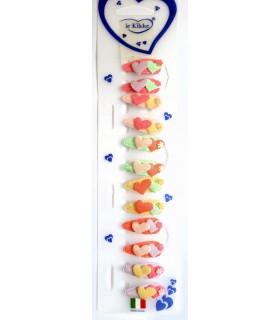 Fermagli Clic Clac Le kikke con Cuoricino da Bambina Blister 12 pz. colori assortiti come da foto
