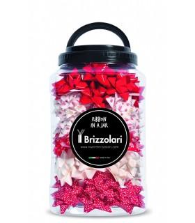 Coccarde Glitterate Brizzolari Diametro 50 mm Barattolo 120 pz. fantasie assortite