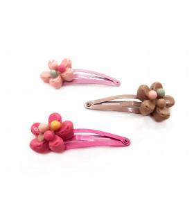 Fermagli Clic Clac Le kikke con Fiore da Bambina Conf. 12 pz. colori assortiti come da foto