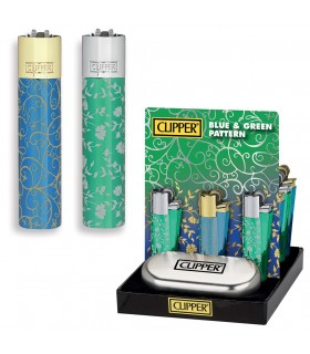 Accendino Clipper Large Blue&Green in Metallo Expo da 12 pz.