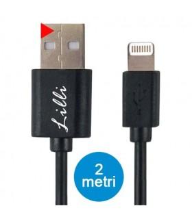 Cavo Lilli Lightining in PVC per Dispositivi Apple Lunghezza 2MT Disponibile Bianco e Nero