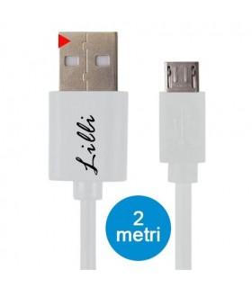 Cavo Lilli Micro USB in PVC per Dispositivi Android Lunghezza 2MT Disponibile Bianco e Nero
