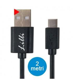 Cavo Lilli C-Type  in PVC per Dispositivi Android di Ultima Generazione Lunghezza 2MT Disponibile Bianco e Nero