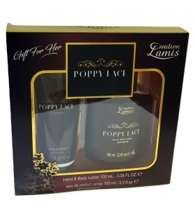 Creation Lamis Poppy Lace Pour Femme Cofanetto con per Lei Eau de Parfum Spray 100ml e Crema Corpo e Mani 100ml
