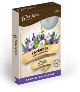 Candela Tea Lights Santo Candles Fragranza Lavanda e Camomilla conf. 6 pz.