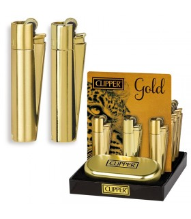 Accendino Clipper Large Gold in Metallo Expo da 12 pz.
