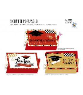 Biglietto Cromo Laurea Portasoldi conf. 12 pz. assortiti