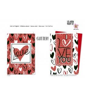 Biglietto Cromo Love con Cuori conf. 12 pz. assortiti