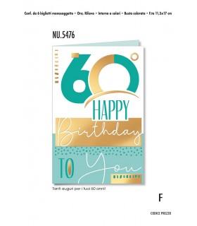 Biglietto Cromo Compleanno 60 Anni conf. 6 pz. monosoggetto