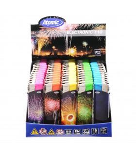 Accendino Elettronico Atomic Fireworks conf. 50 pz. assortito con 5 fantasie