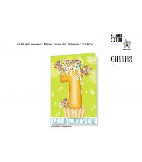 Biglietto Cromo Buon Compleanno Waffle 1 Anno conf. 6 pz. monosoggetto