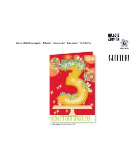Biglietto Cromo Buon Compleanno Waffle con Glitter 3 Anni conf. 6 pz. monosoggetto