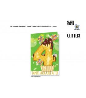 Biglietto Cromo Buon Compleanno Waffle con Glitter 4 Anni conf. 6 pz. monosoggetto
