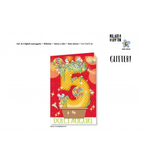 Biglietto Cromo Buon Compleanno Waffle con Glitter 5 Anni conf. 6 pz. monosoggetto