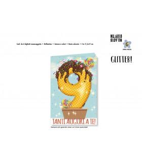 Biglietto Cromo Buon Compleanno Waffle con Glitter 9 Anni conf. 6 pz. monosoggetto