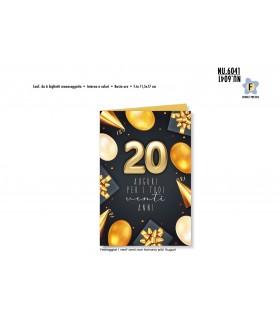 Biglietto Cromo Buon Complenno Palloncini Oro 20 Anni conf. 6 pz. monosoggetto