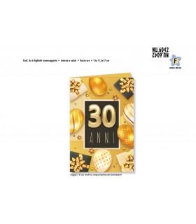 Biglietto Cromo Buon Complenno Palloncini Oro 30 Anni conf. 6 pz. monosoggetto